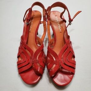"VIA SPIGA red leather strappy sandal with 3"" heels"